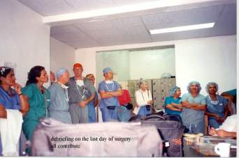 Example of International Humanitarianism -- On the last day of surgery all persons from both countries debrief